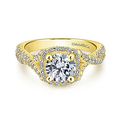 Gabriel - Aster 14k Yellow Gold Round Halo Engagement Ring