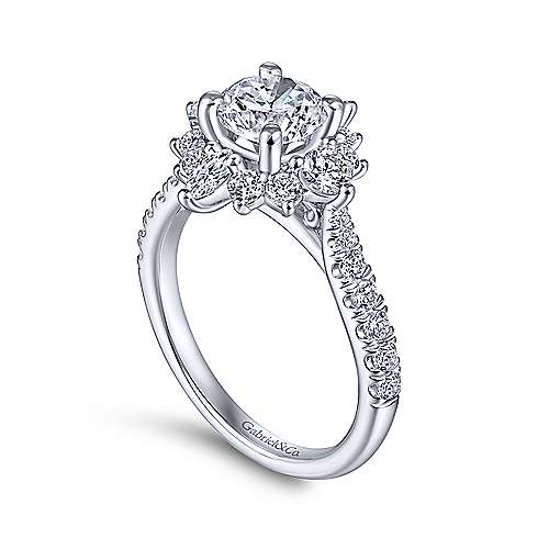 Astor 14k White Gold Round Halo Engagement Ring