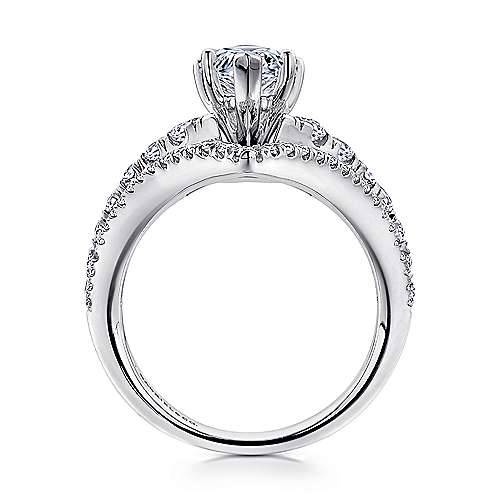Astrid 14k White Gold Pear Shape Free Form Engagement Ring angle 2