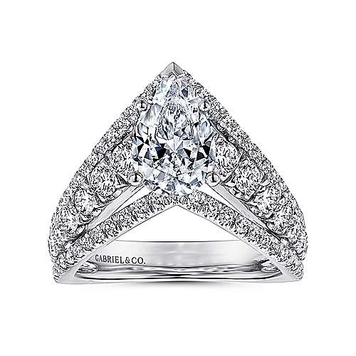 Astrid 14k White Gold Pear Shape Free Form Engagement Ring angle 5