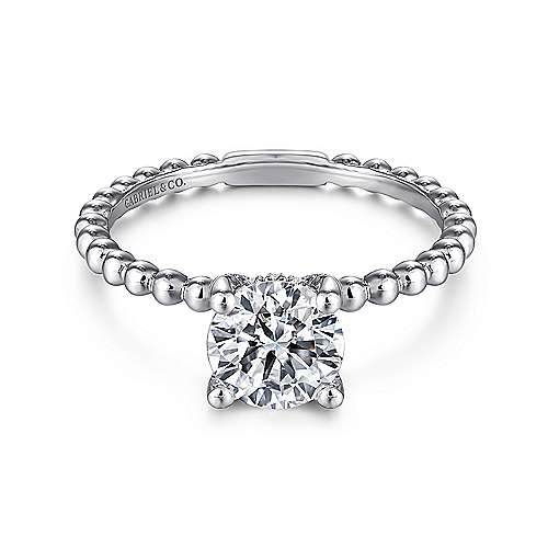 Gabriel - Athena 14k White Gold Round Solitaire Engagement Ring