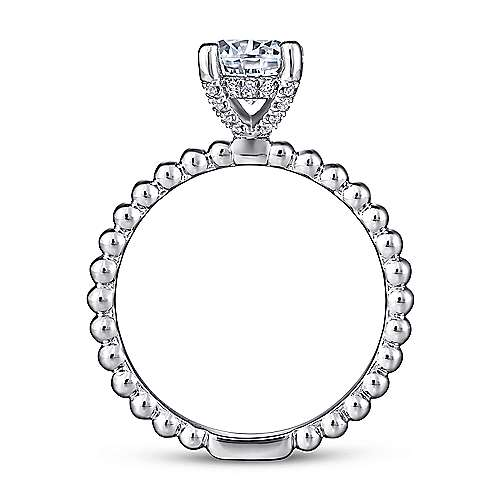 Athena 14k White Gold Round Solitaire Engagement Ring angle 2