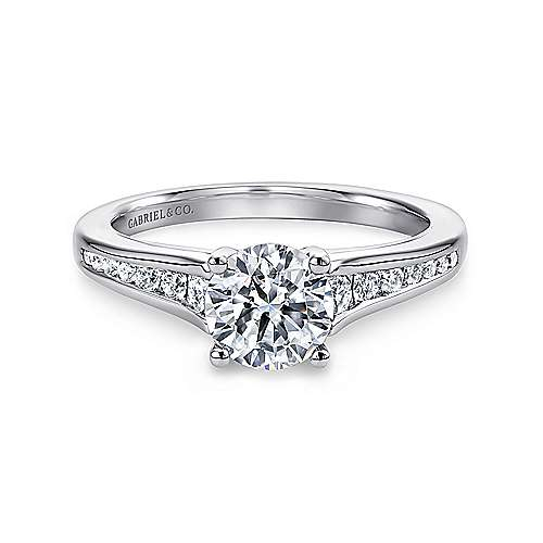 Aubrey 14k White Gold Round Straight Engagement Ring angle 1