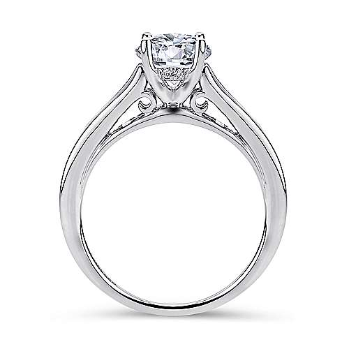 Aubrey 14k White Gold Round Straight Engagement Ring angle 2