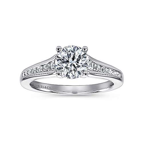 Aubrey 14k White Gold Round Straight Engagement Ring angle 5