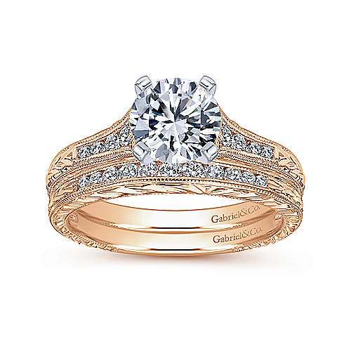 Audra 14k White And Rose Gold Round Straight Engagement Ring angle 4