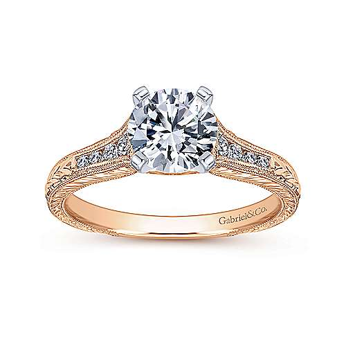 Audra 14k White And Rose Gold Round Straight Engagement Ring angle 5