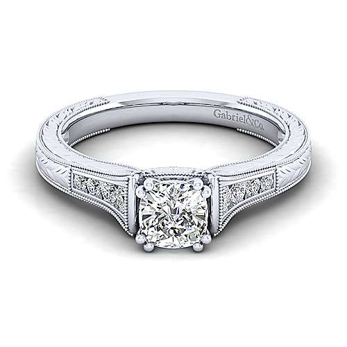 Gabriel - Audra 14k White Gold Cushion Cut Straight Engagement Ring