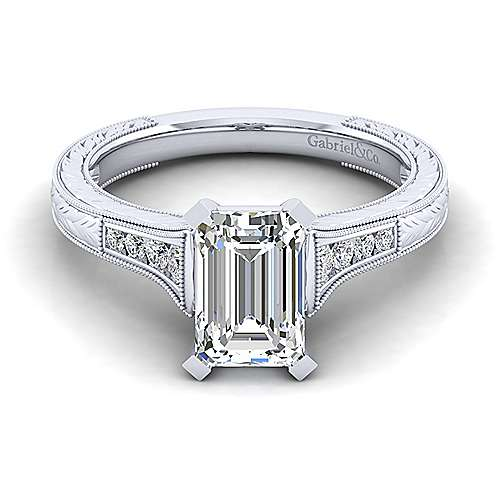 Gabriel - Audra 14k White Gold Emerald Cut Straight Engagement Ring