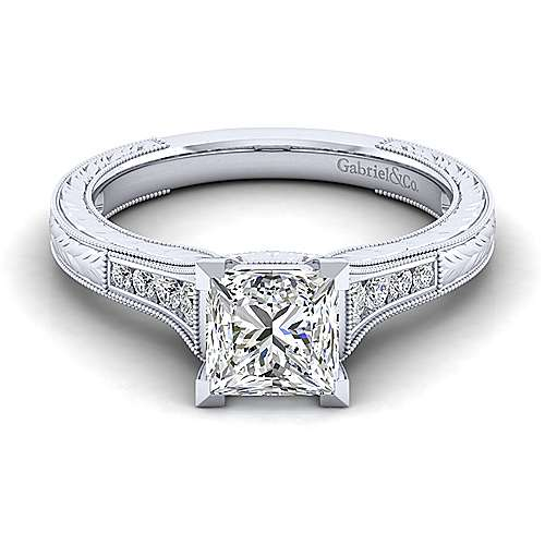 Gabriel - Audra 14k White Gold Princess Cut Straight Engagement Ring