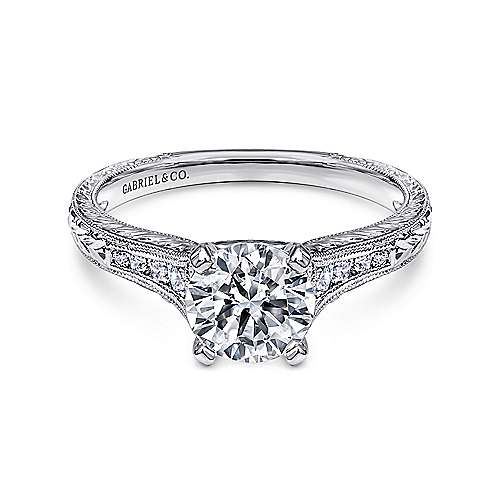 Audra 14k White Gold Round Straight Engagement Ring angle 1