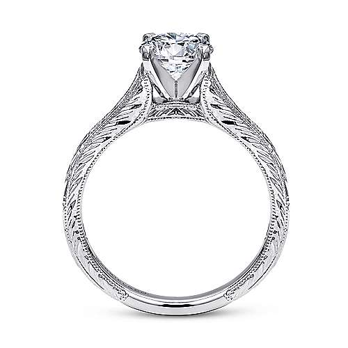 Audra 14k White Gold Round Straight Engagement Ring angle 2