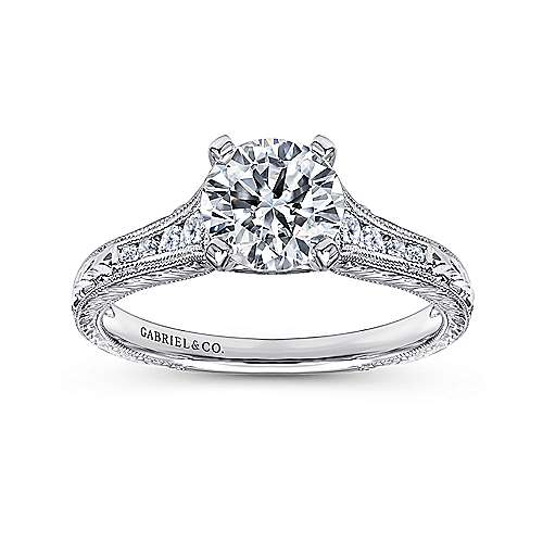 Audra 14k White Gold Round Straight Engagement Ring angle 5