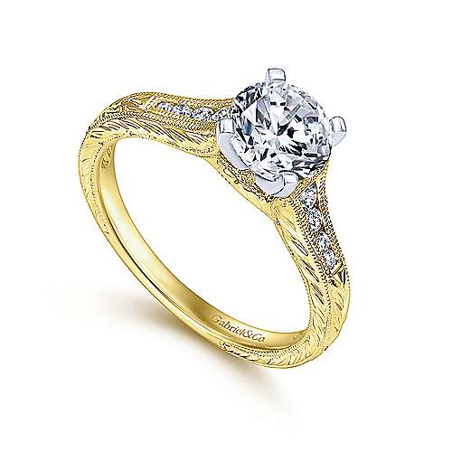 Audra 14k Yellow And White Gold Round Straight Engagement Ring angle 3