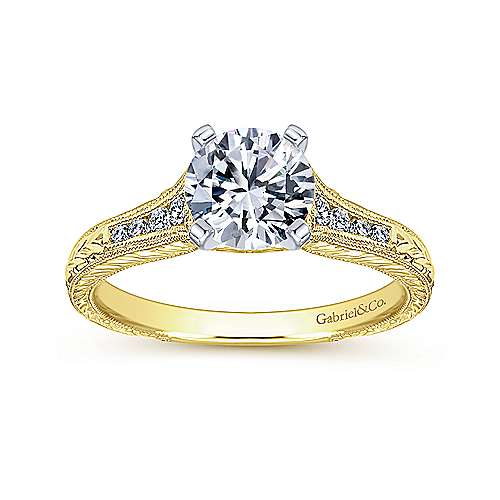 Audra 14k Yellow And White Gold Round Straight Engagement Ring angle 5