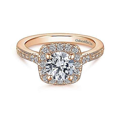 Gabriel - Audrey 14k Rose Gold Round Halo Engagement Ring
