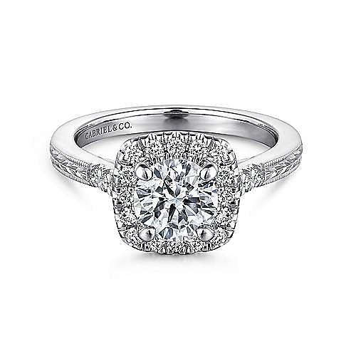 Gabriel - Audrey 14k White Gold Round Halo Engagement Ring