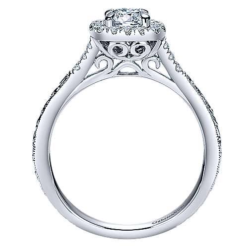 Audrey 14k White Gold Round Halo Engagement Ring angle 2