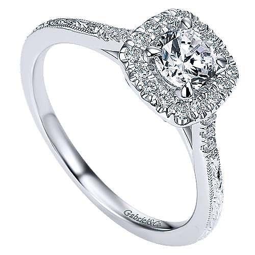 Audrey 14k White Gold Round Halo Engagement Ring angle 3