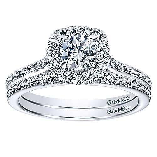 Audrey 14k White Gold Round Halo Engagement Ring angle 4