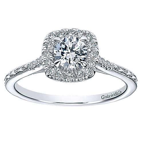 Audrey 14k White Gold Round Halo Engagement Ring angle 5