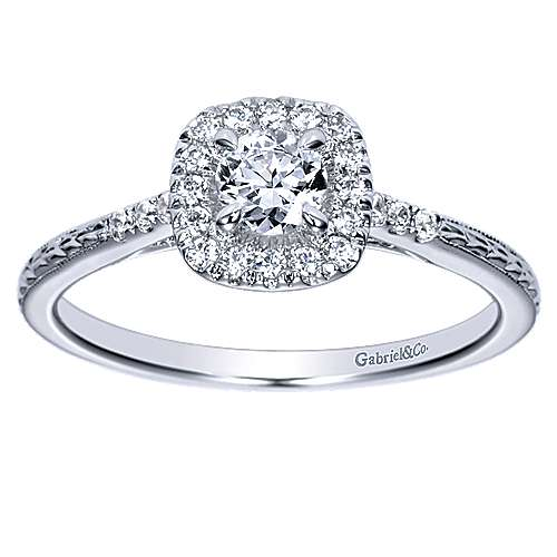 Audrey 14k White Gold Round Halo Engagement Ring angle 5