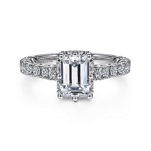 Gabriel - Augusta 14k White Gold Emerald Cut Straight Engagement Ring