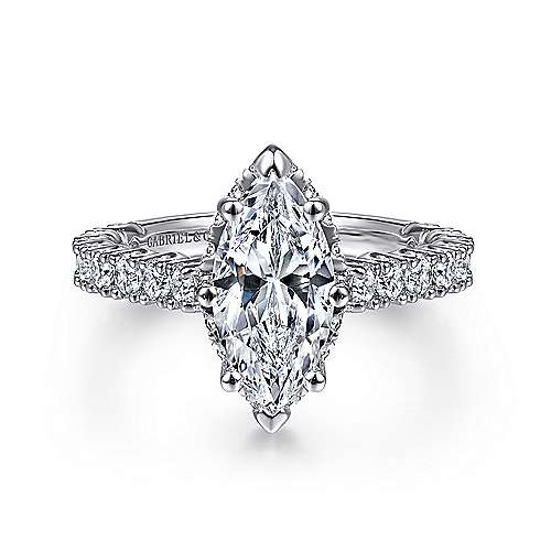 Gabriel - Augusta 14k White Gold Marquise  Straight Engagement Ring