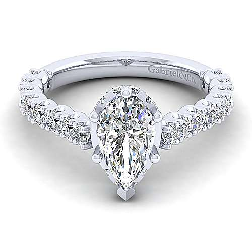 Gabriel - Augusta 14k White Gold Pear Shape Straight Engagement Ring
