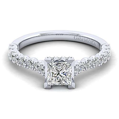 Gabriel - Augusta 14k White Gold Princess Cut Straight Engagement Ring
