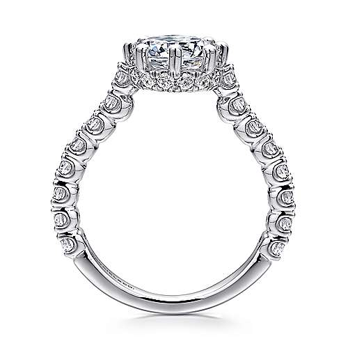 Augusta 14k White Gold Round Straight Engagement Ring angle 2