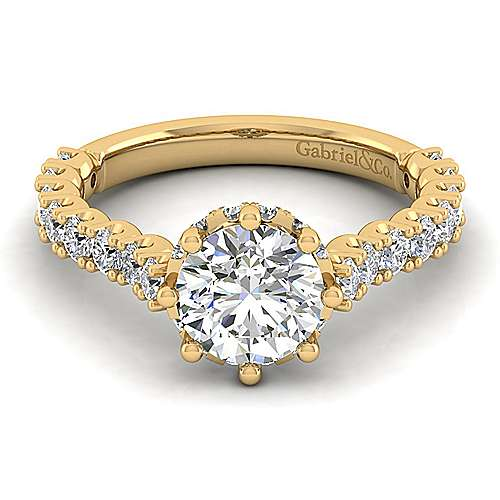 Augusta 14k Yellow Gold Round Straight Engagement Ring angle 1