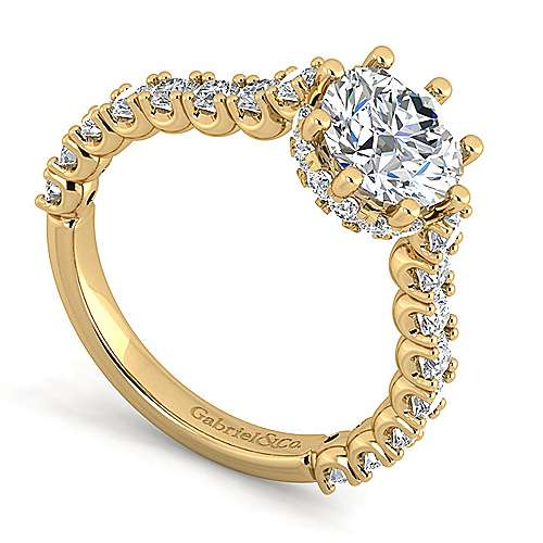 Augusta 14k Yellow Gold Round Straight Engagement Ring angle 3