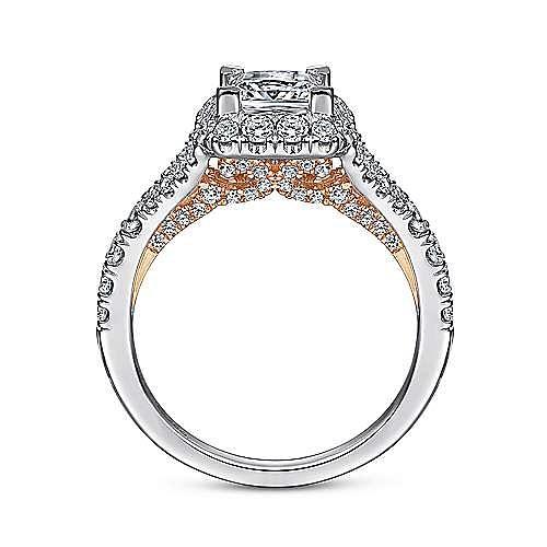 Aurelia 14k White And Rose Gold Princess Cut Halo Engagement Ring angle 2