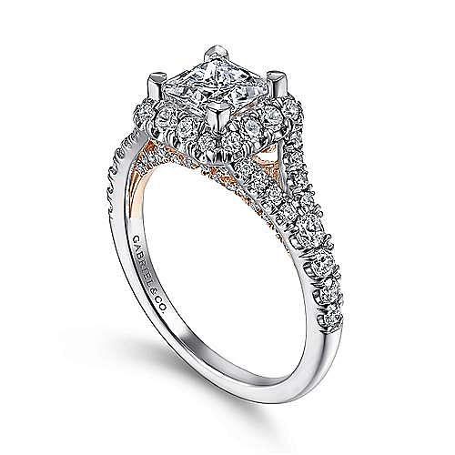 Aurelia 14k White And Rose Gold Princess Cut Halo Engagement Ring angle 3