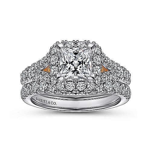 Aurelia 14k White And Rose Gold Princess Cut Halo Engagement Ring angle 4