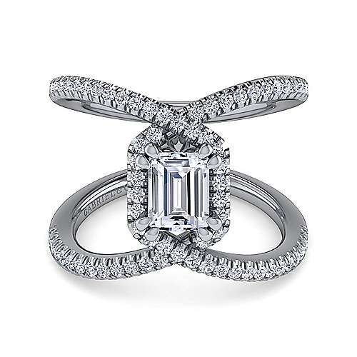 Gabriel - Aurora 14k White Gold Emerald Cut Halo Engagement Ring