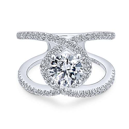 Gabriel - Aurora 14k White Gold Round Halo Engagement Ring