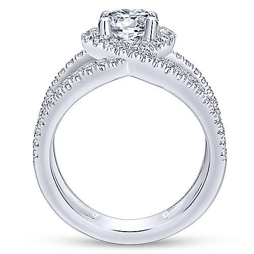 Aurora 14k White Gold Round Halo Engagement Ring angle 2