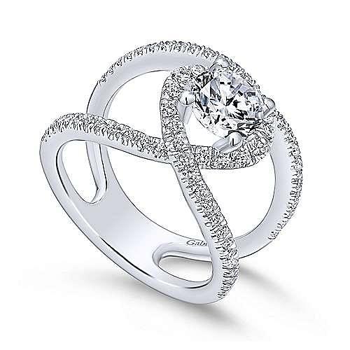 Aurora 14k White Gold Round Halo Engagement Ring angle 3