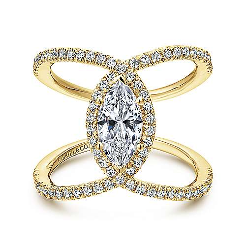Gabriel - Aurora 14k Yellow Gold Marquise  Halo Engagement Ring