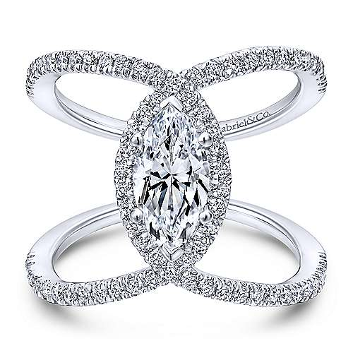 Gabriel - Aurora 18k White Gold Marquise  Halo Engagement Ring