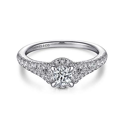Autumn 14k White Gold Round Halo Engagement Ring angle 1