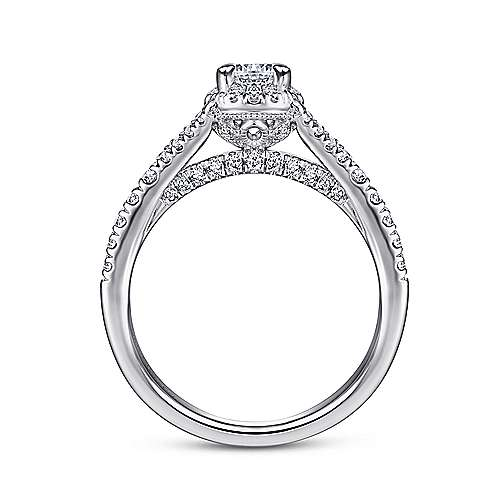 Autumn 14k White Gold Round Halo Engagement Ring angle 2