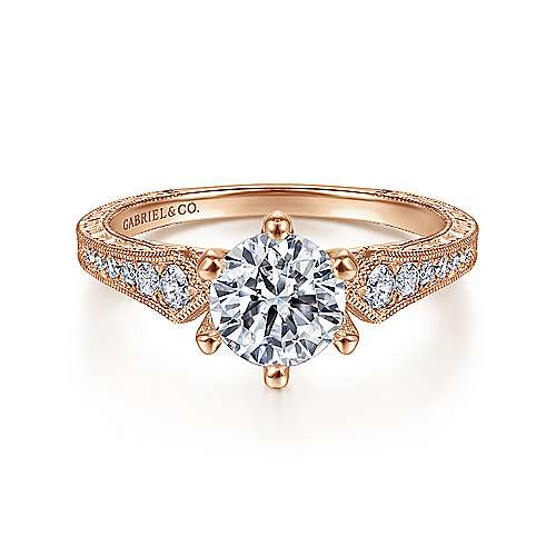 Gabriel - Ava 14k Rose Gold Round Straight Engagement Ring