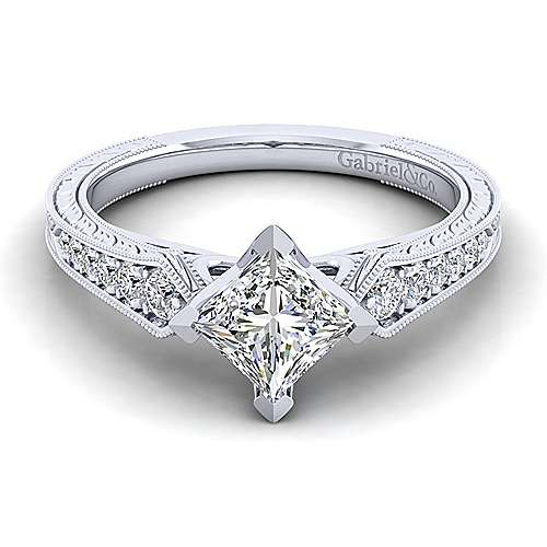 Gabriel - Ava 14k White Gold Princess Cut Straight Engagement Ring