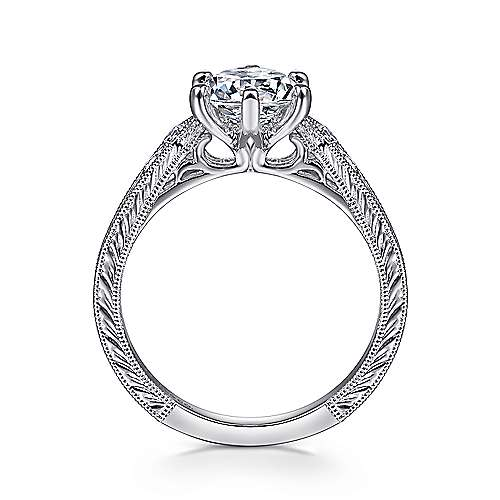 Ava 14k White Gold Round Straight Engagement Ring angle 2