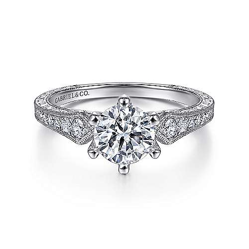 Gabriel - Ava Platinum Round Straight Engagement Ring