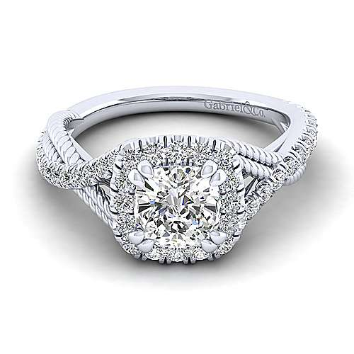 Gabriel - Avalon 14k White Gold Cushion Cut Halo Engagement Ring