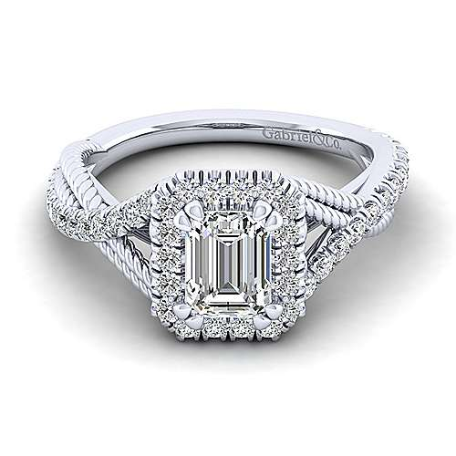 Gabriel - Avalon 14k White Gold Emerald Cut Halo Engagement Ring